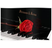 Rose in red tone with piano Poster