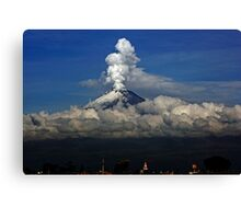 Smoking volcano and clouds Canvas Print