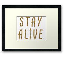 Stay Alive - Hunger Games (Gold) Framed Print