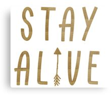 Stay Alive - Hunger Games (Gold) Metal Print