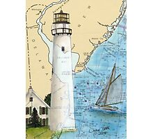 Fenwick Island Lighthouse DE Nautical Chart Peek Photographic Print