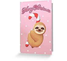 Christmas Candy Cane Baby Sloth Greeting Card