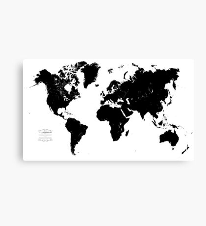Black & White World Map Canvas Print