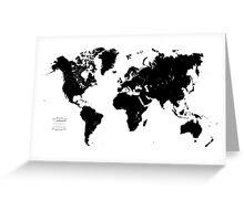 Black & White World Map Greeting Card