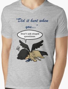 Did it hurt when you fell from Heaven? Mens V-Neck T-Shirt