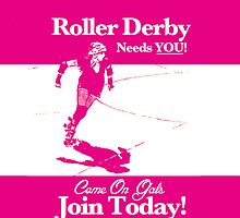 Roller Girl Recruitment iPhone & iPad Case (Hot Pink) by John Perlock
