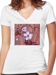 Mock Plum Blossoms Women's Fitted V-Neck T-Shirt