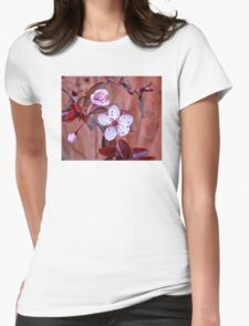 Mock Plum Blossoms Womens Fitted T-Shirt