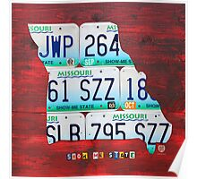 Missouri License Plate Map Poster
