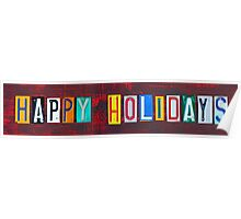 Happy Holidays License Plate Art Poster