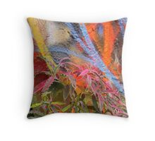 Cadillac Ranch Abstract with Painted Plant Throw Pillow