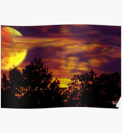 August Sunset Moon Poster
