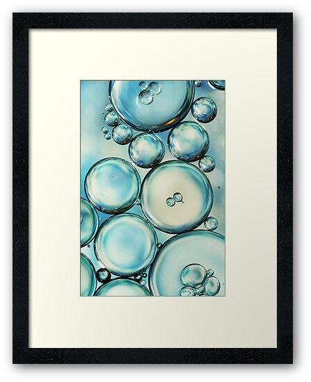 Sky Blue Bubble Abstract by Sharon Johnstone