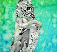 Traditional Watercolor and Ink Lion Statue  by Soccer20Star