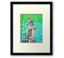 Traditional Watercolor and Ink Lion Statue  Framed Print