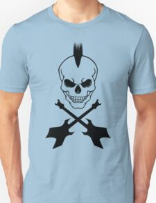 Punk Skull with Crossed Electric Guitars - Black on White T-Shirt