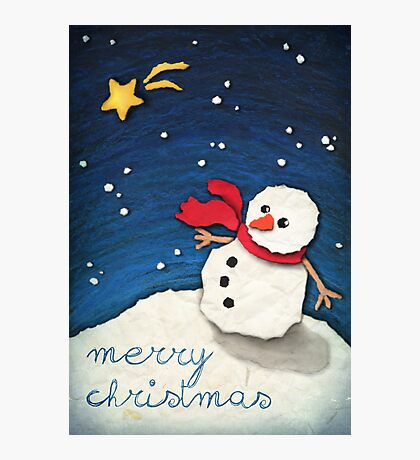 Paper Snowman Photographic Print