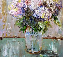 Hydrangea's in a Fruit Jar by artbydelilah