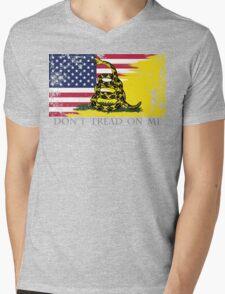 American Gadsden Flag Worn Mens V-Neck T-Shirt
