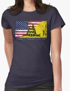 American Gadsden Flag Worn Womens Fitted T-Shirt
