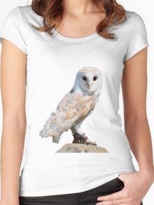 Barn owl on a fence post Women's Fitted Scoop T-Shirt