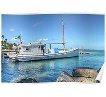 Boat docked at home on Eastern Road in Nassau, The Bahamas Poster