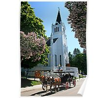A Simple Life -- Church and Buggy, Michigan Poster