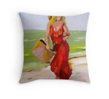 Devil in the Red Dress Throw Pillow