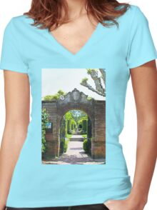 Archway at Filoli Gardens Women's Fitted V-Neck T-Shirt
