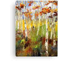 Brush Stroke Birchs Canvas Print