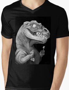 Nirvana Ink Dinosaur Illustration Mens V-Neck T-Shirt