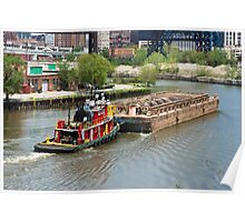 Tugboat And Mud Barge Poster
