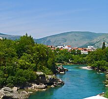 Mostar on the Nerevta River, Bosnia Herzegovina by Margaret  Hyde
