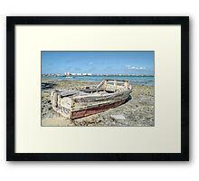 Lonely Boat dreaming of the Sea in Montagu Beach - Nassau, The Bahamas Framed Print