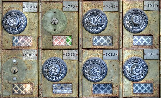Anno 2012 - Mailboxes at the Post Office on Shirley Street in Nassau, The Bahamas by Jeremy Lavender Photography