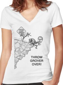 Throw Grover Over T-Shirt Women's Fitted V-Neck T-Shirt