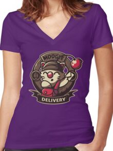 Moogle Delivery Women's Fitted V-Neck T-Shirt