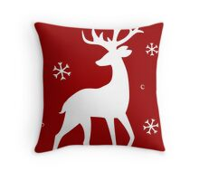 Stylized Reindeer Silhouette (White on red) Throw Pillow