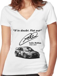 If in doubt, Flat out (with subaru) Women's Fitted V-Neck T-Shirt