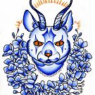 calygreyhound in blue, cat with antlers  by resonanteye