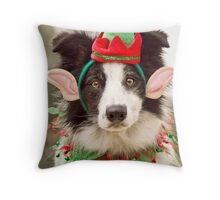 Elf Collie Throw Pillow
