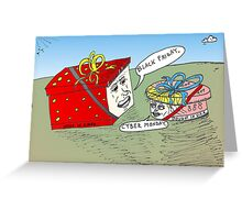 Cyber Monday and Black Friday caricature Greeting Card