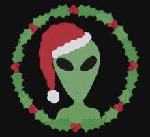 Alien In A Santa Hat Funny Christmas Kids Tee