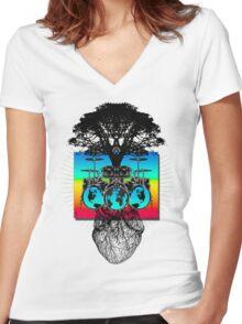 WORLDBEAT Women's Fitted V-Neck T-Shirt