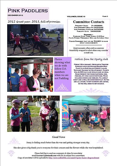 Newcastle/Hunter Dragons Abreast Newsletter pg 2 December 2012 by KazM