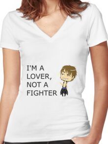 AIDEN-IM A LOVER, NOT A FIGHTER Women's Fitted V-Neck T-Shirt