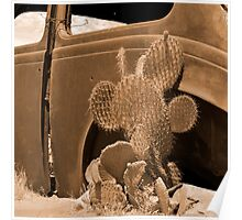 Route 66 - Rusty old Cars and Cactus Poster