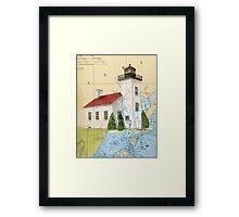 Sand Pt Escanaba Lighthouse MI Chart Cathy Peek Framed Print