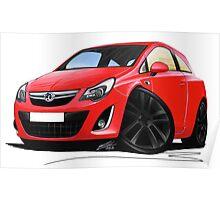 Vauxhall Corsa D (Facelift) Red (Black Wheels) Poster