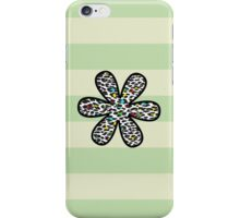 Flower, Animal Print, Spotted Leopard - Yellow Blue Green  iPhone Case/Skin